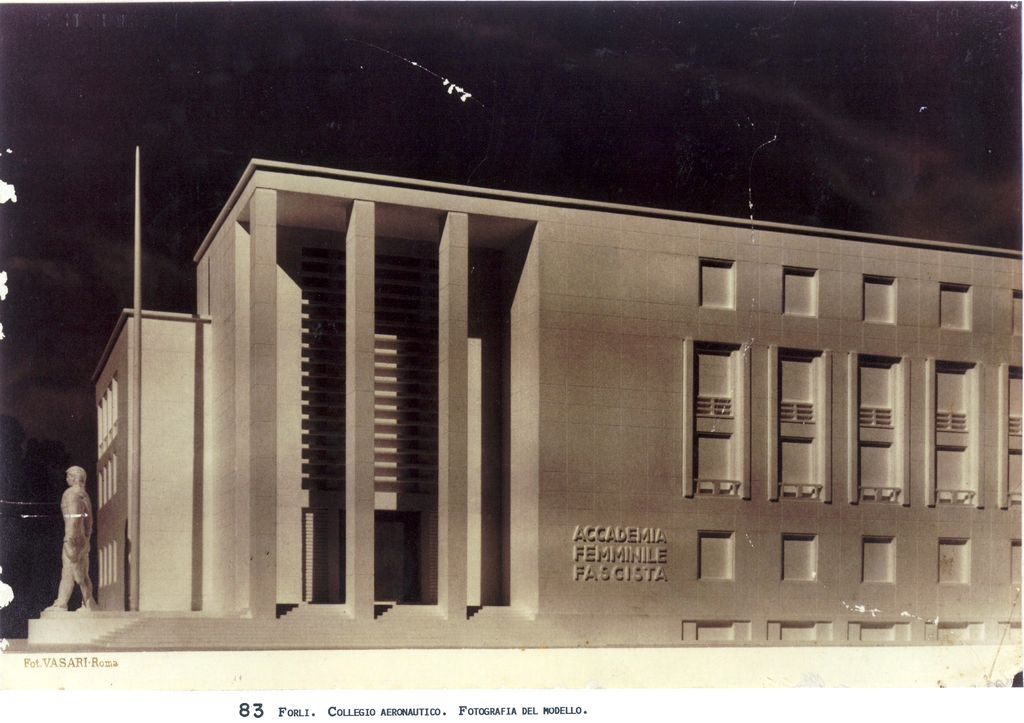 Main elevation: Ing. Cesare Valle- Project of Aeronautical School of Forlì (1940).