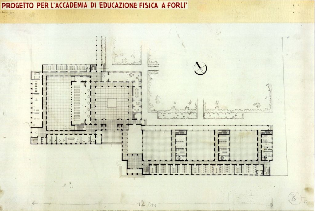 Main Plan: Ing. Cesare Valle- Project of Aeronautical School of Forlì (1940).