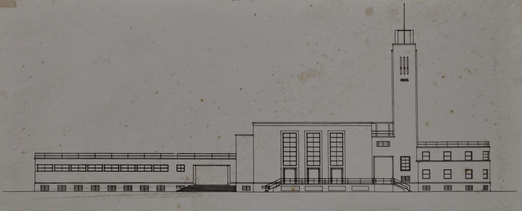 Main Elevation: Ing. Cesare Valle- Project of Nuova Casa Stadio Balilla of Forlì