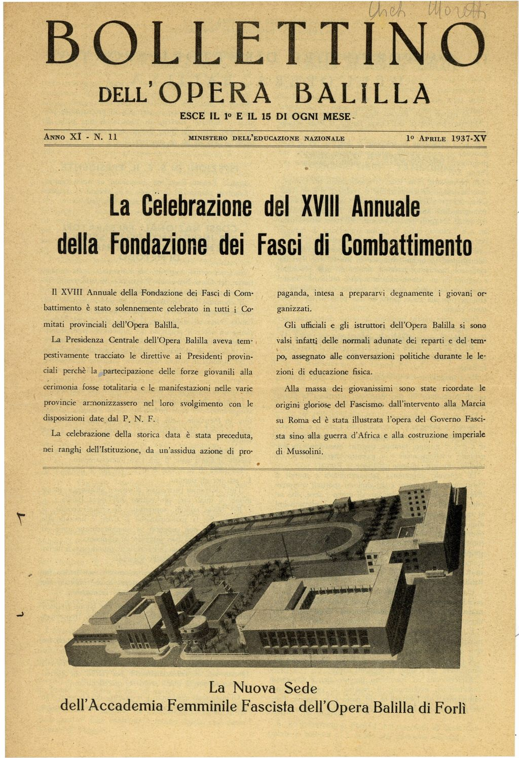 Ing. Cesare Valle: Project of Aeronautical School of Forlì