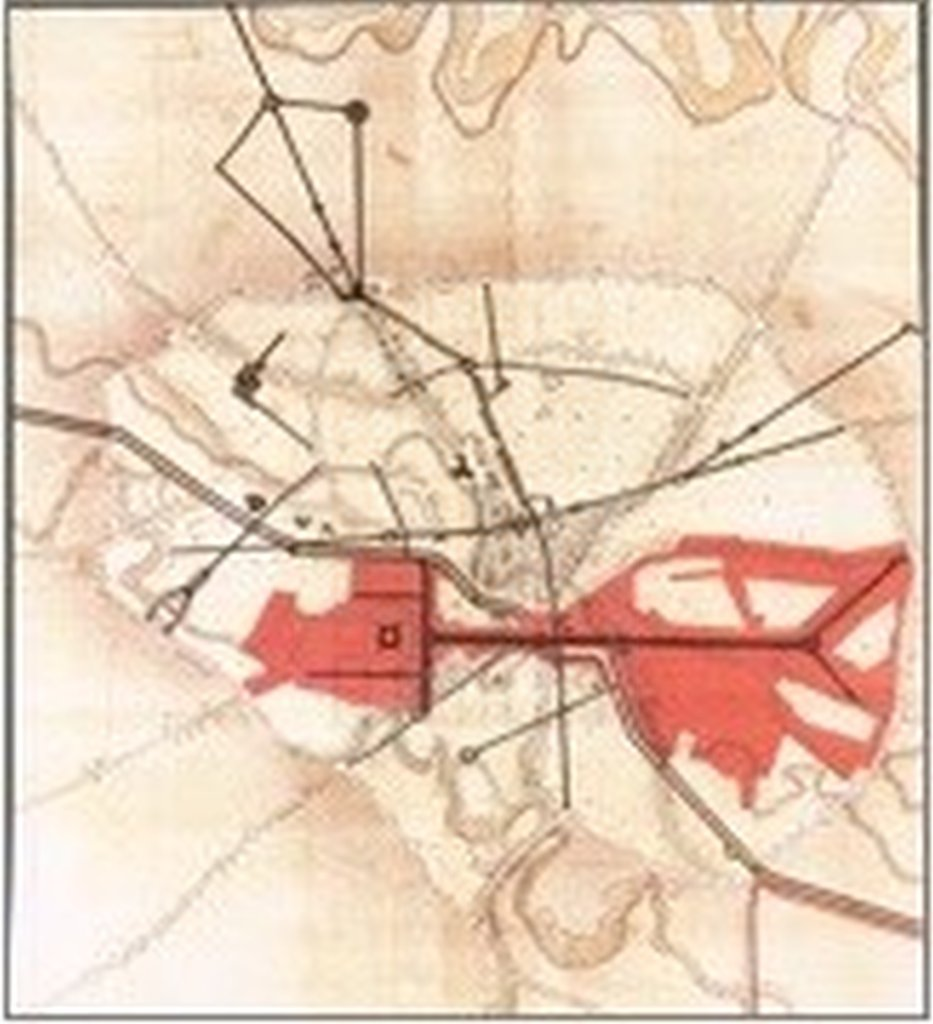 Plan that indicates the area demolished tied to the perimeter of the town in 19th century