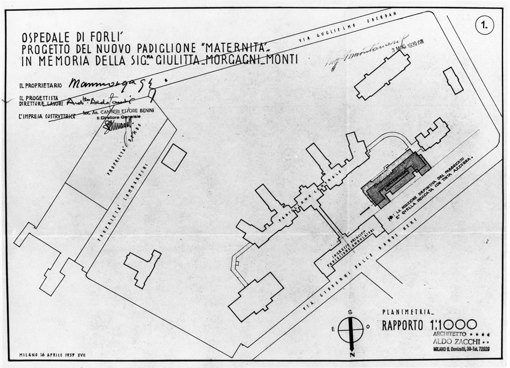 Forlì, Layout of the hospital area and the  new Morgagni  ward