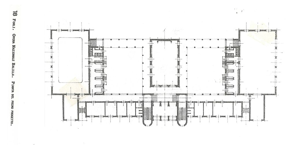 Main Plan: Ing. Cesare Valle-Project of Nuova Casa Stadio Balilla of Forlì